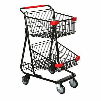 Double Basket Wire Shopping Cart In Metal With Black 19 W X 11 12 D X 18 12 H
