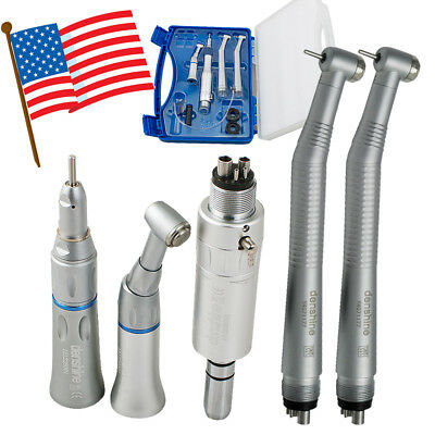 Us Sale High Low Speed Dental Handpiece Kit 4 Hole 4h Push Button With Box Fda