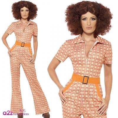 Damen 70s Authentische Vintage Chic Pop Disco Retro Erwachsene Abendkleid Kostüm