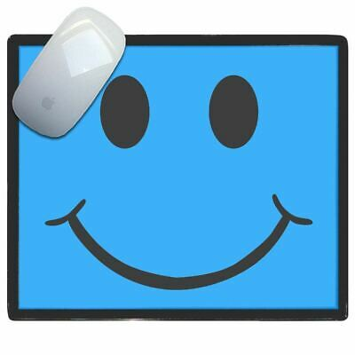 Blue Smiley - Thin Pictoral Plastic Mouse Pad Mat Badgebeast
