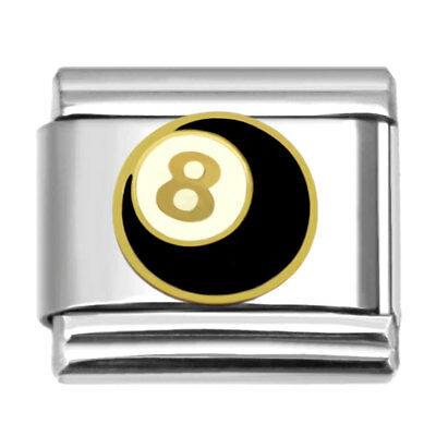 Italian Charm 8 Ball 9 mm Stainless Steel Link for Personalized Bracelet EB0381
