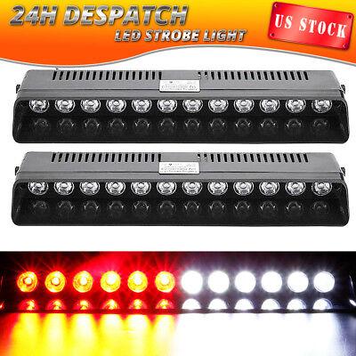 2X 12 LED Emergency Warning Strobe Light Bar Beacon Car Visor Hazard RED WHITE