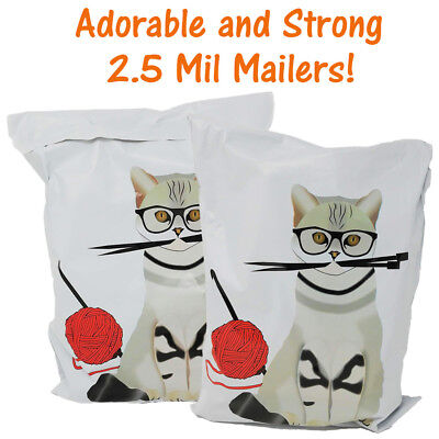 10x13 Cat Art and Craft Poly Mailers, Designer Shipping Self Seal Shipping bags ()