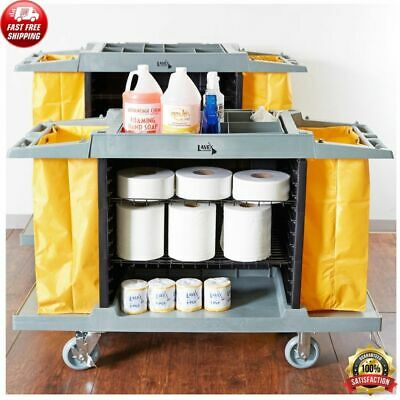 Housekeeping 3 Shelf Cleaning Mop Linen Utilty Cart Hotel Janitor Commercial Use