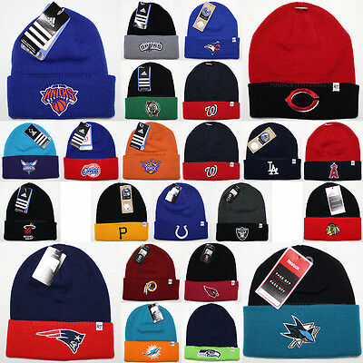 Official Sports Team Embroidered Knit Beanie Hat Cap Apparel NFL NBA MLB NHL New