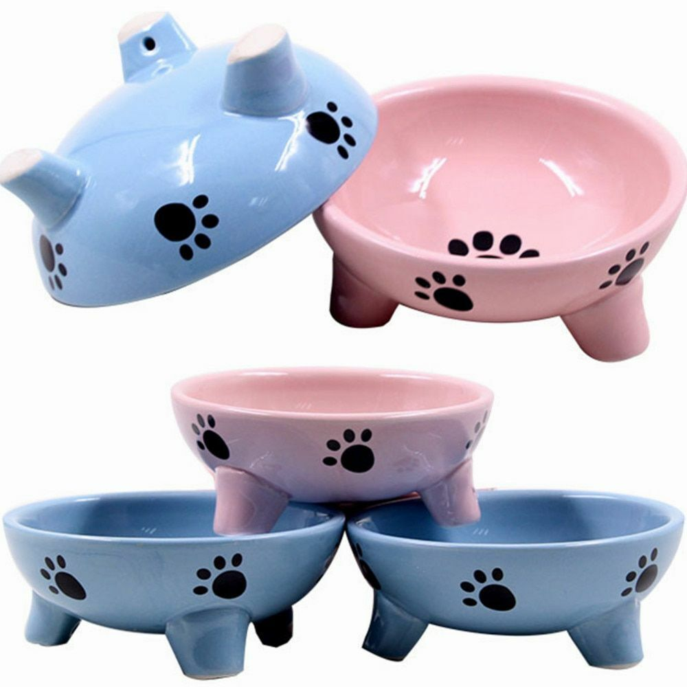 Pets Non-slip Feeding Food Ceramics Bowl Cute Pattern Snack Container Pet Supply