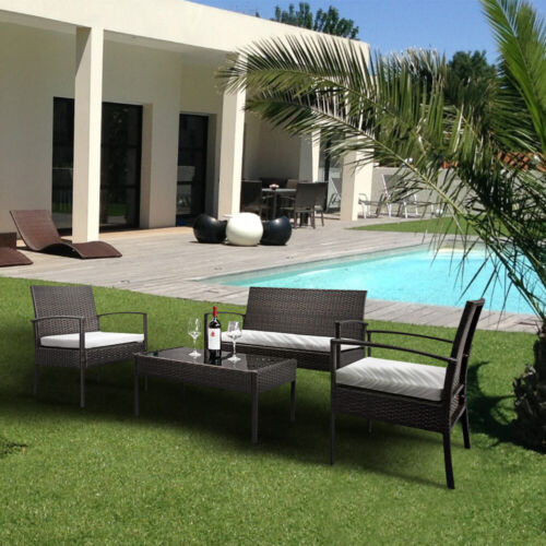 4 PCS Rattan Patio Furniture Set Garden Lawn Sofa Set /w Cus