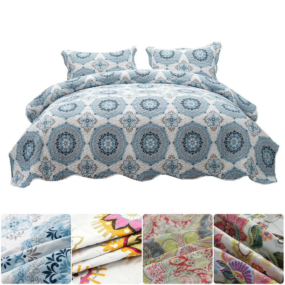 Bedspread Coverlet Set Printed Floral Quilt Pillowcase Brush