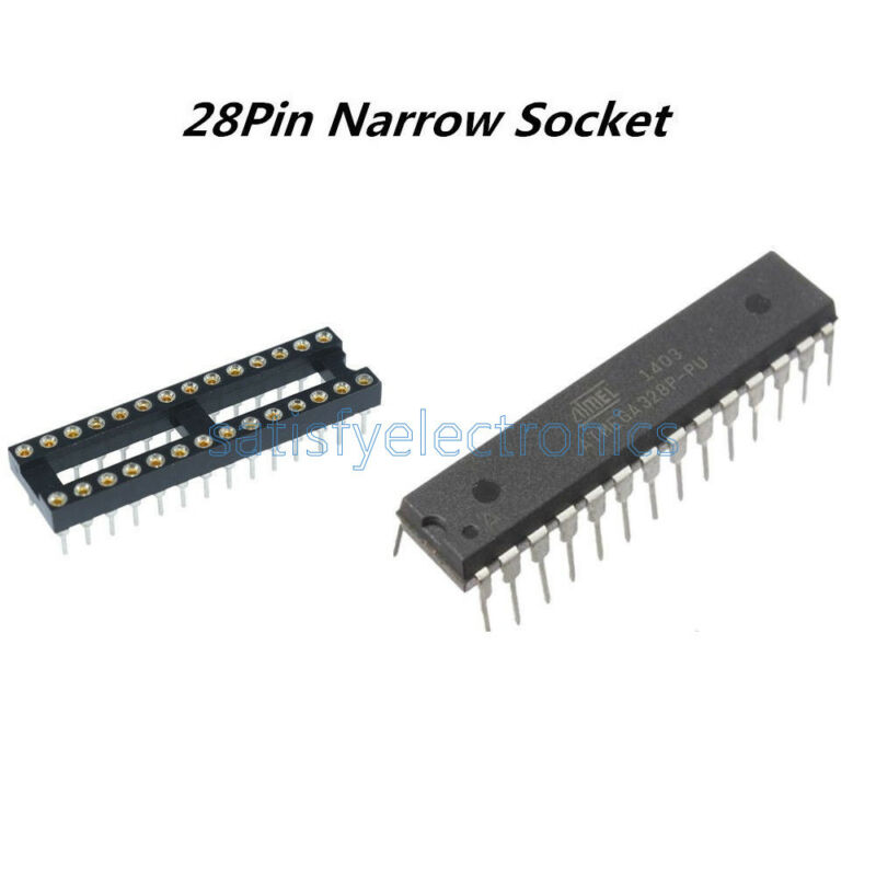 1pcs ATMEGA328P-PU ATMEGA328P DIP28 Microcontroller ATMEL & 28Pin Narrow SOCKET