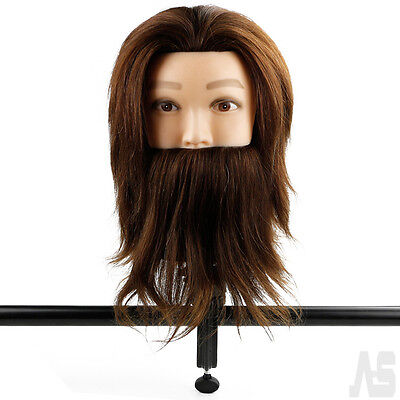 Hairdressing Training Mannequin Man With Beard Head 100% Real Human Hair+Clamp