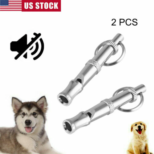 2x Dog Training WHISTLE Obedience Stop Barking Pet Sound Adjustable Pitch Silver
