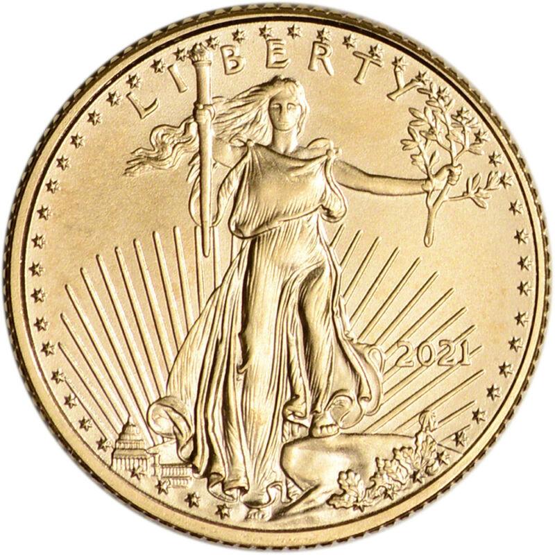 2021 American Gold Eagle 1/10 oz $5 - BU