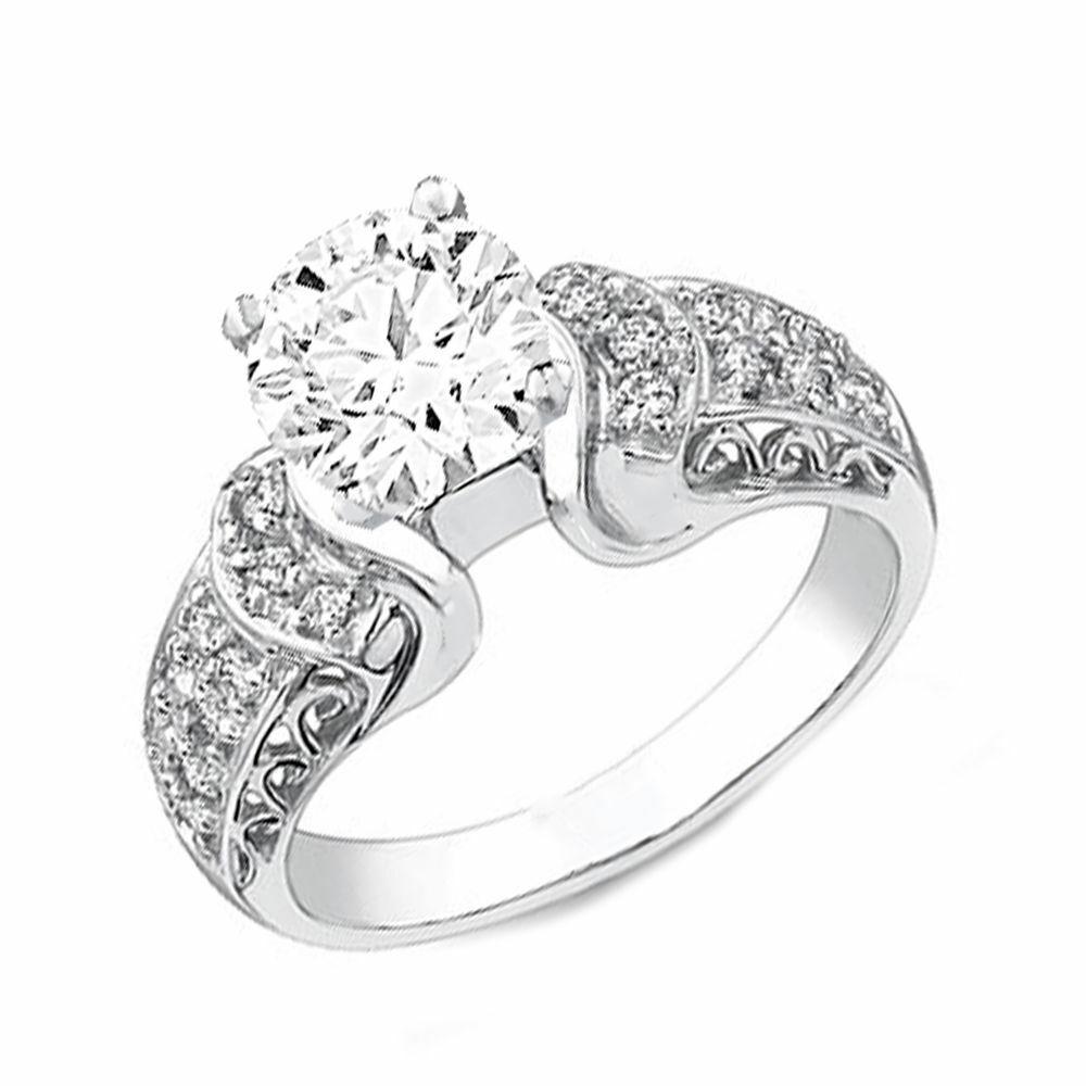 Vintage Style GIA Diamond Round Cut Engagement Ring 3.22 CTW 18k White Gold