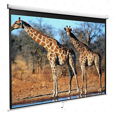 100'' 16:9 Home Movie Manual Projection Screen Pull Down Projector Matte White