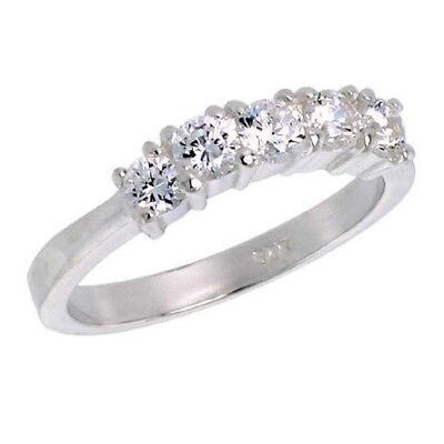 Sterling Silver 5-Stone Engagement Ring w/ Brilliant Cut Cubic Zirconia Stones (Brilliant Cut Silver Ring)