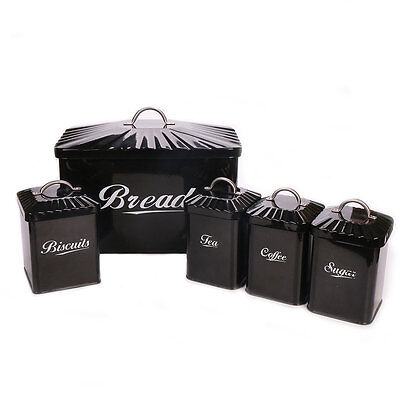 X649 Black Canister Set 5  Kitchen Food Storage Containers Coffee Sugar Tea Jars