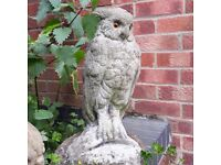 Vintage Reconstituted Stone Owl with Glass Eyes Garden Statue Ornament