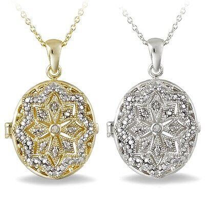 Diamond Oval Locket (Diamond Accent Oval Locket Necklace - 2 Options )