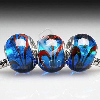 5stk.Muranoglas Perlen Lampwork Großlochperlen Spacer European Beads DIY LB115