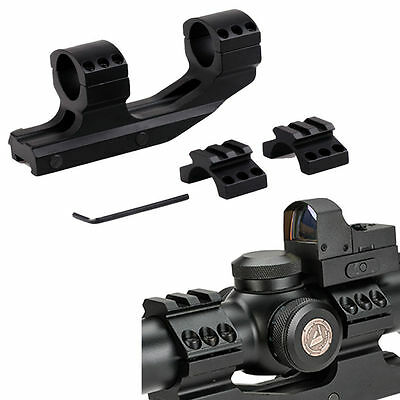 Tactical 1 inch Cantilever Dual Flat Top Rings Rifle Scope Mount Picatinny  Rail