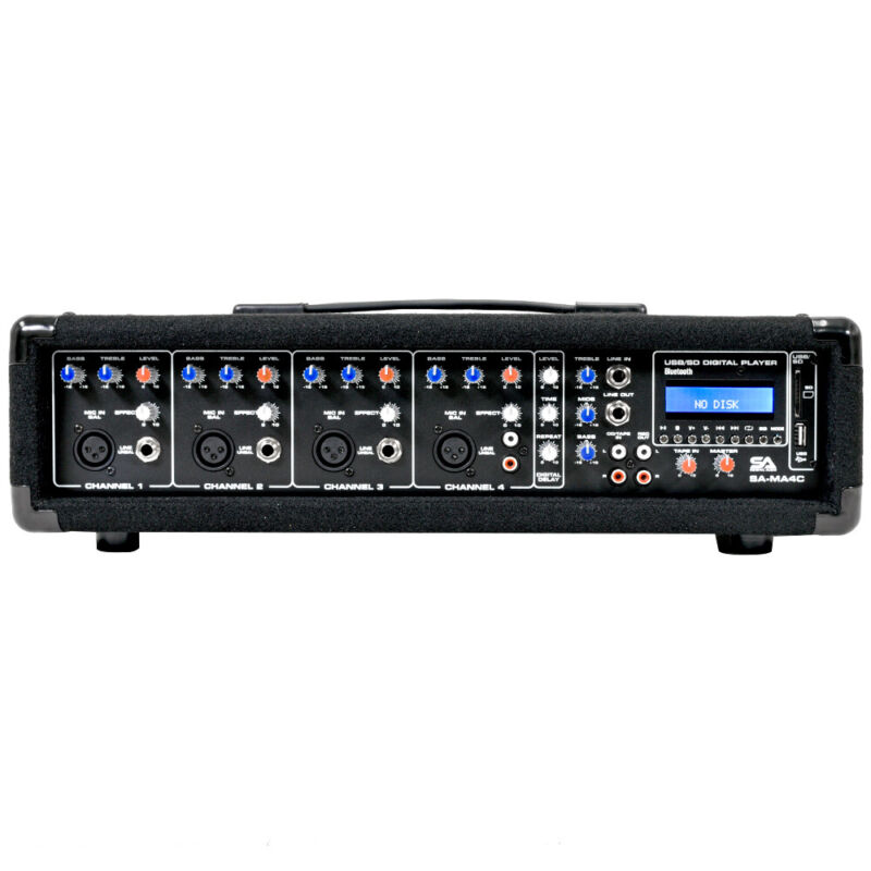 4 Channel 200 Watt Powered PA Head Mixer with Bluetooth Remote and Effects FX