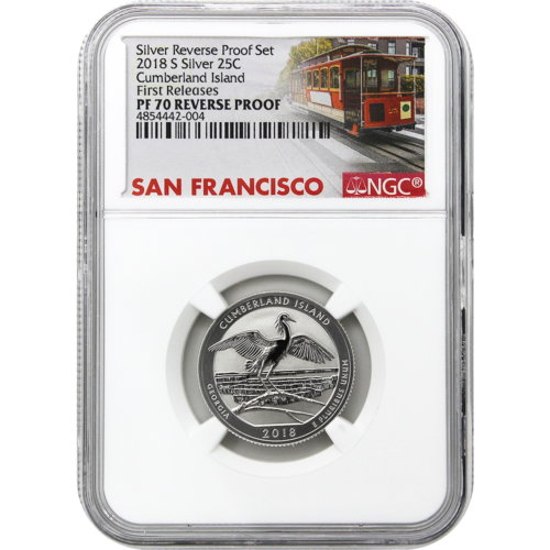 2018-S U.S. Silver Reverse Proof Set 10pc. NGC PF70 First Releases Trolley Label