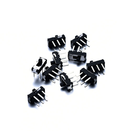 10pcs On/Off/On DPDT 2P2T 6 Pin Toggle Vertical DIP Slide Switch for PCB Mount
