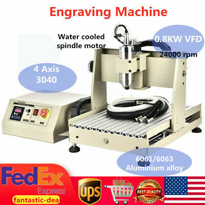 4 Axis 800w 3040 Cnc Router 3d Engraver Engraving Drilling Milling Drill Machine