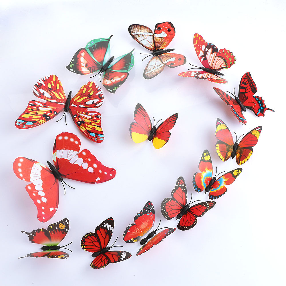 12pcs art decal home room wall stickers 3d butterfly sticker decorations decor ebay. Black Bedroom Furniture Sets. Home Design Ideas