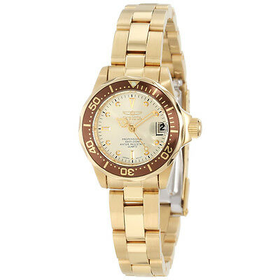 Invicta 12527 Women's Gold Plated Steel Champagne Dial Dive Watch