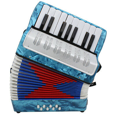 Musical Accordion for Kids Mini Small 17-Key 8 Bass Beginner Blue J1E5