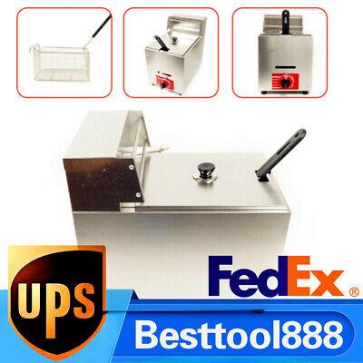 10l Commercial Deep Fryer Countertop Propane Lpg Gas Fryer Pot W Lid Basket