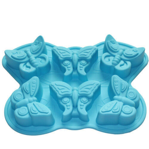 6-Insect Butterfly Silicone Soap Mold Chocolate Muffin Cupcake Making Mold Tray