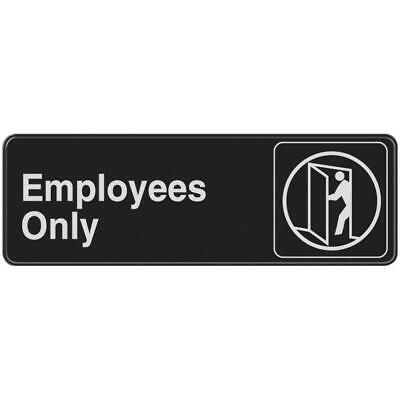 Everbilt Employees Only Sign 3 X 9 Self-adhesive Mounting Black White Door