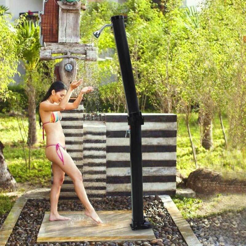 7 FT Solar Heated Outdoor Shower Hot &Cold 6.6 Gallon w/ Base Sprinkler Poolside