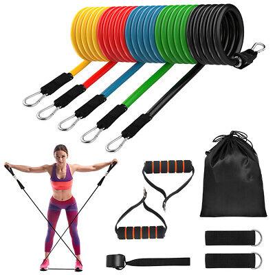 11Pcs Fitness Latex Resistance Bands Set Training Exercise Elastic Band Yoga Gym
