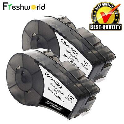 2pk Vinyl Label Tape Cartridge M21-500-595-wt Replace For Brady Bmp21-plus 12