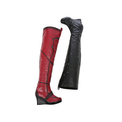 Détails sur Batman Arkham City Harley Quinn Cosplay bottes en cuir Chaussures Custom Made afficher le titre d'origine