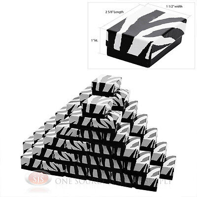 50 Zebra Print Cotton Filled Gift Boxes Jewelry Pendant Charm 2 58 X 1 12