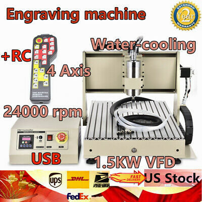Usb 4 Axis 6040 Cnc Router Engraver Drilling Milling Machine 1.5kw  Controller