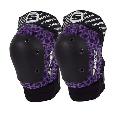 Smith Safety Gear Scabs ELITE KNEE Skateboard Pads PURPLE LEOPARD S/M