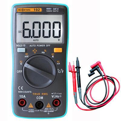 Rm102 Digital Multimeter Dmm Dc Ac Voltage Current Meter Diode Temp Tester Tool
