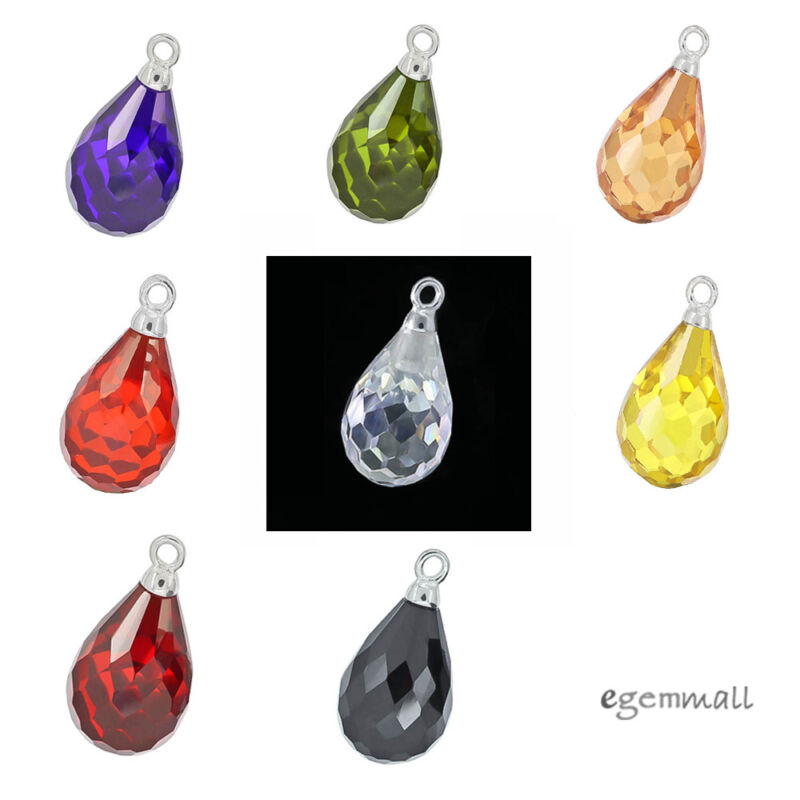 2 Sterling Silver Cubic Zirconia Teardrop Dangle charm beads 18mm (Pick Colors)
