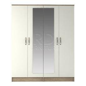 Beatrice 4 door mirrored wardrobe oak and white