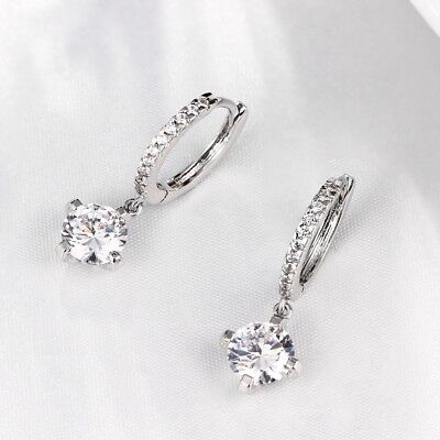 BERRICLE Silver CZ Leverback Dangle Drop Earrings