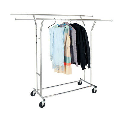 High Quality Steel Adjustable Clothing Rolling Double Garment Rack Hanger Holder ()