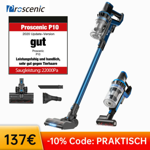 Proscenic P10 Akku Staubsauger Handsauger Beutellos Tierhaare Touchscreen 150AW