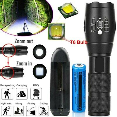 Tactical 900000lm LED Flashlight Super Bright Rechargeable Torch T6+Batt&Charger
