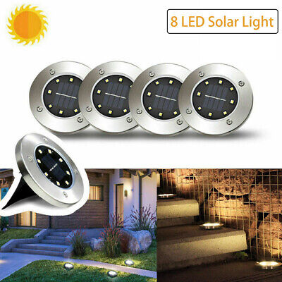 8 LED Solar Disk Lights Ground Buried Garden Lawn Deck Path Outdoor Waterproof Earth Garden Path