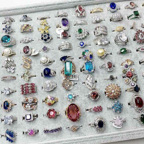 50Pcs Wholesale Lot Women Men Mixed Style Lot Jewelry Vintage Rings Band Jewelry